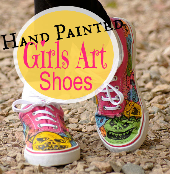 Girls Fun Hand Painted Art Shoes