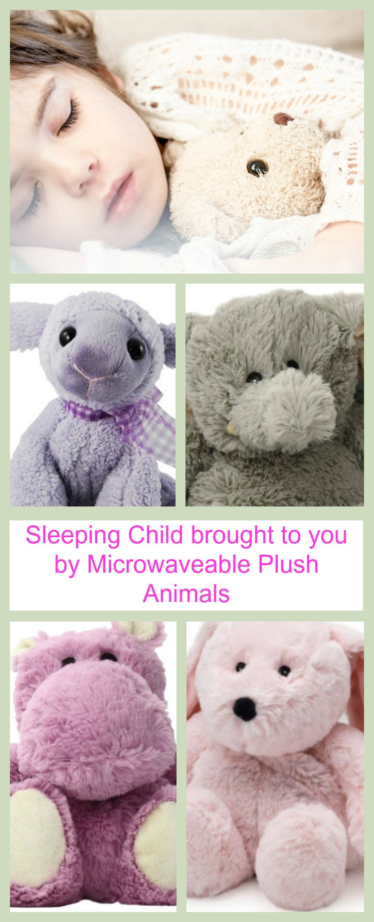 Sleeping Child brought to you buy Microwaveable Plush Animals